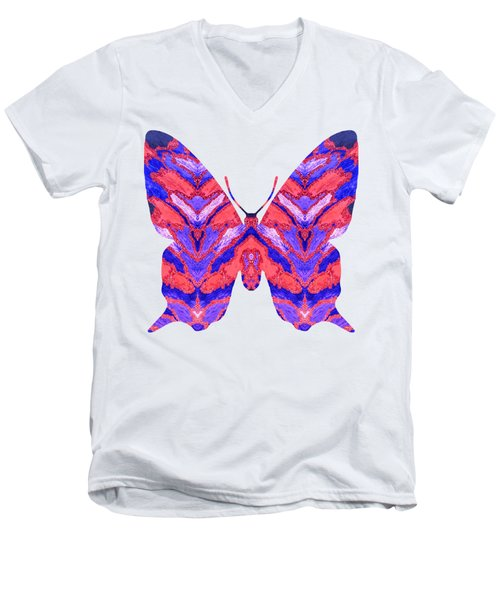 Vibrant Butterfly  Men's V-Neck T-Shirt