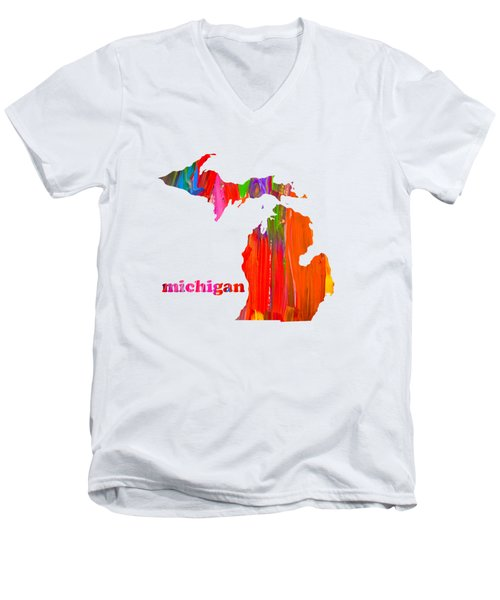 Vibrant Colorful Michigan State Map Painting Men's V-Neck T-Shirt by Design Turnpike
