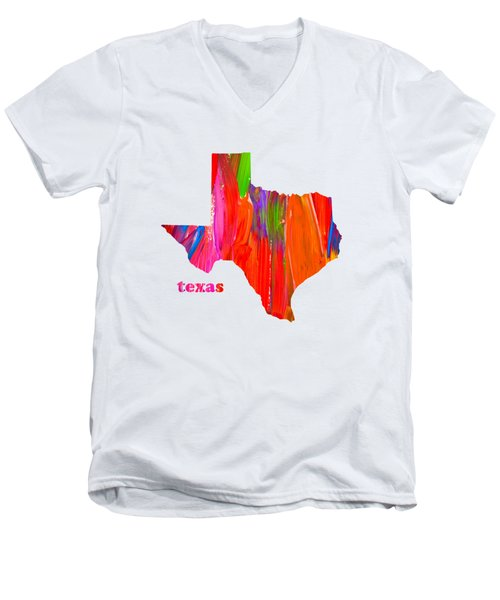 Vibrant Colorful Texas State Map Painting Men's V-Neck T-Shirt by Design Turnpike