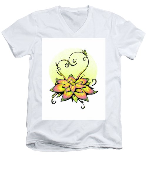 Vibrant Flower 8 Men's V-Neck T-Shirt