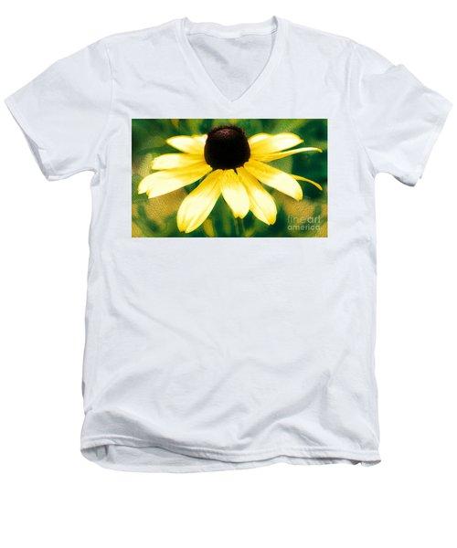Vibrant Yellow Coneflower Men's V-Neck T-Shirt by Judy Palkimas
