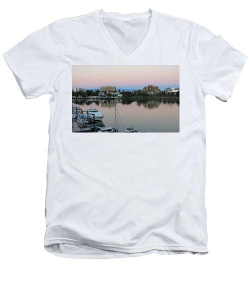 Victoria Harbor Dawn Men's V-Neck T-Shirt by Betty Buller Whitehead