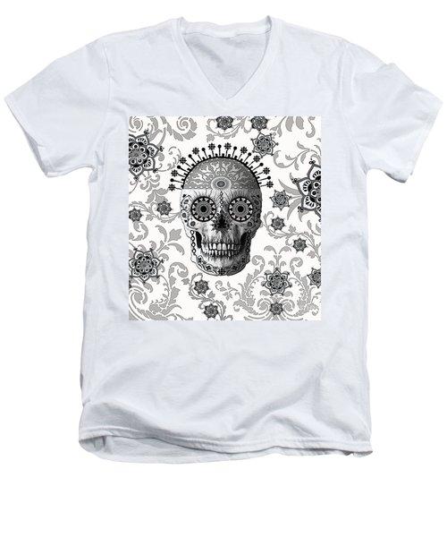 Victorian Bones Men's V-Neck T-Shirt by Christopher Beikmann