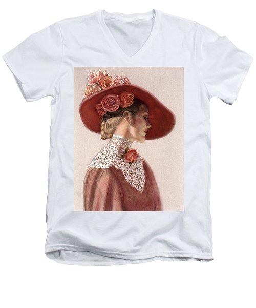 Victorian Lady In A Rose Hat Men's V-Neck T-Shirt