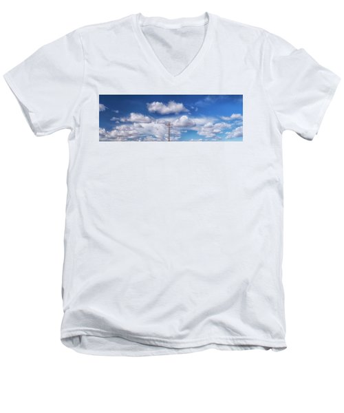 View Of A Phone Pole Men's V-Neck T-Shirt by Gary Warnimont
