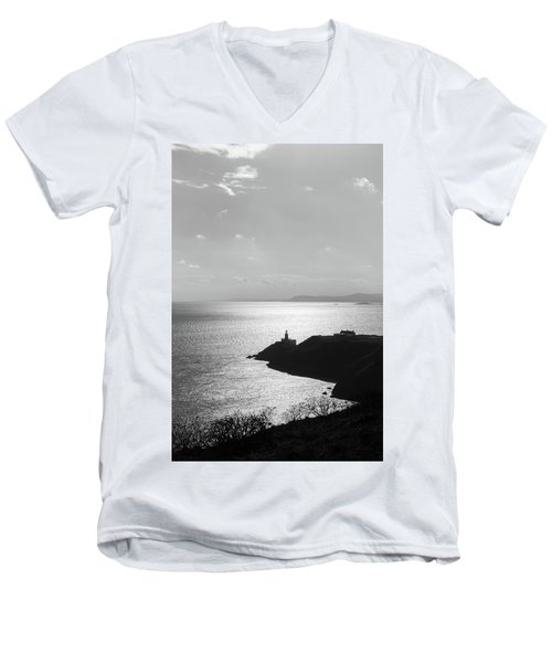 Men's V-Neck T-Shirt featuring the photograph View Of Howth Head With The Baily Lighthouse In Black And White by Semmick Photo