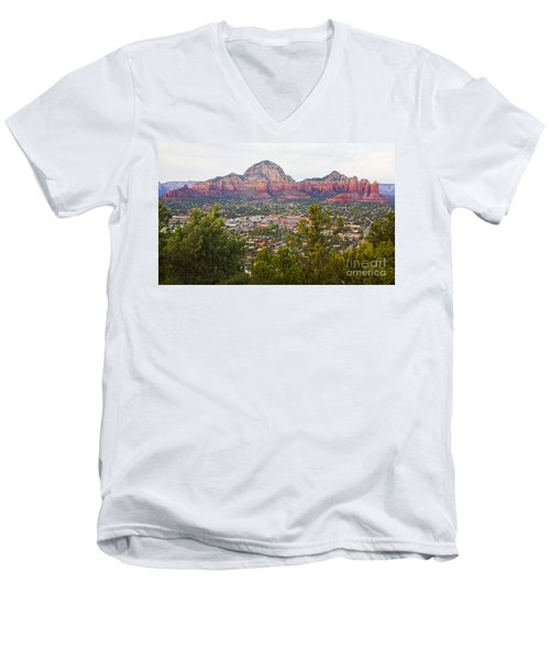 Men's V-Neck T-Shirt featuring the photograph View Of Sedona From The Airport Mesa by Chris Dutton