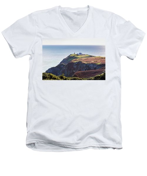 Men's V-Neck T-Shirt featuring the photograph View Of The Trails On Howth Cliffs And Howth Head In Ireland by Semmick Photo
