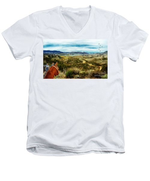 View Of Vail Lake On Horseback Men's V-Neck T-Shirt
