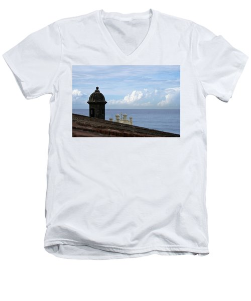 View To The Sea From El Morro Men's V-Neck T-Shirt by Lois Lepisto