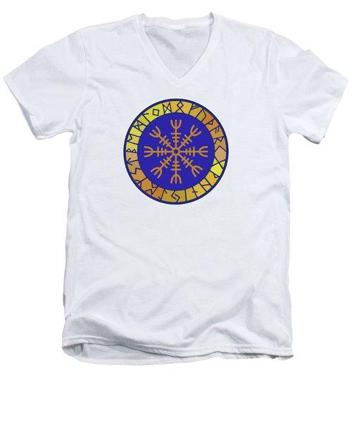 Men's V-Neck T-Shirt featuring the digital art Viking Helm Of Awe by Vagabond Folk Art - Virginia Vivier