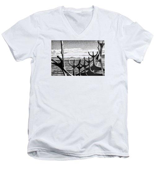 Viking Tribute Men's V-Neck T-Shirt by Rick Bragan