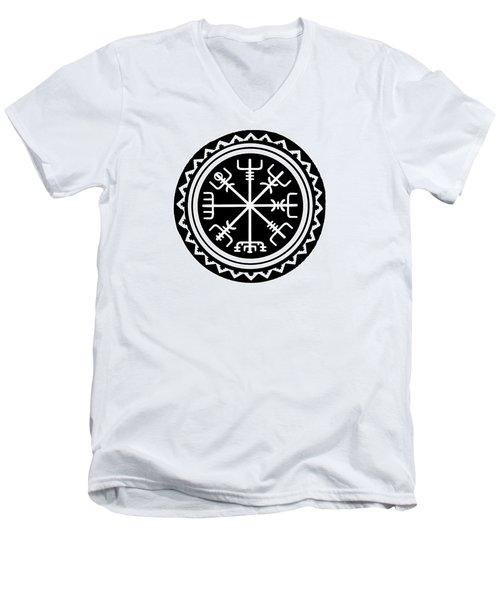 Men's V-Neck T-Shirt featuring the digital art Viking Vegvisir Compass by Vagabond Folk Art - Virginia Vivier