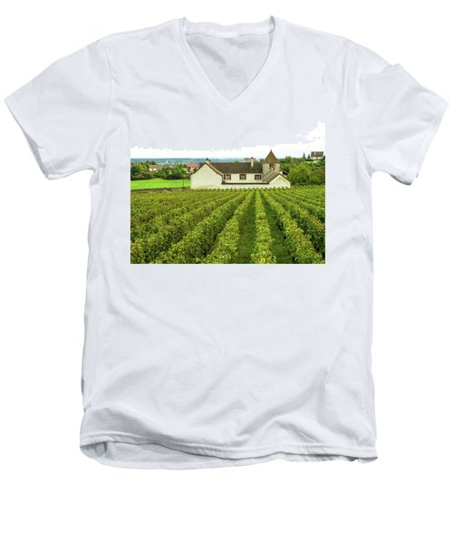 Men's V-Neck T-Shirt featuring the photograph Vineyard In France by Jim Mathis