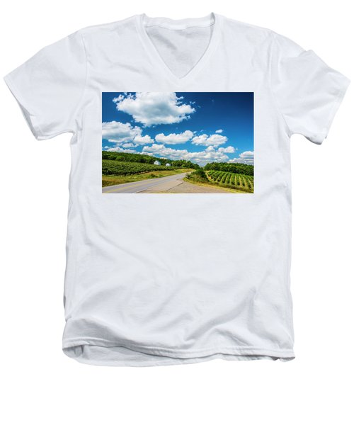 Men's V-Neck T-Shirt featuring the photograph Vineyards In Summer by Steven Ainsworth