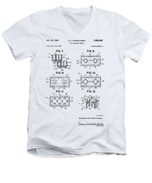 Vintage 1961 Lego Brick Patent Art Men's V-Neck T-Shirt