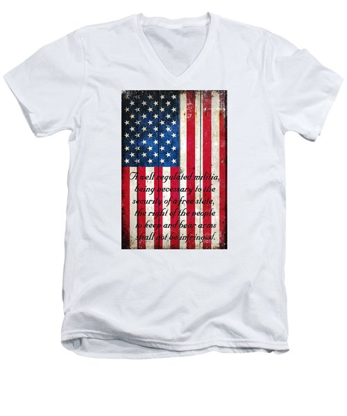 Vintage American Flag And 2nd Amendment On Old Wood Planks Men's V-Neck T-Shirt by M L C