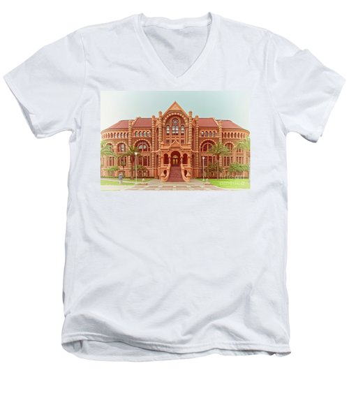 Vintage Architectural Photograph Of Ashbel Smith Old Red Building At Utmb - Downtown Galveston Texas Men's V-Neck T-Shirt