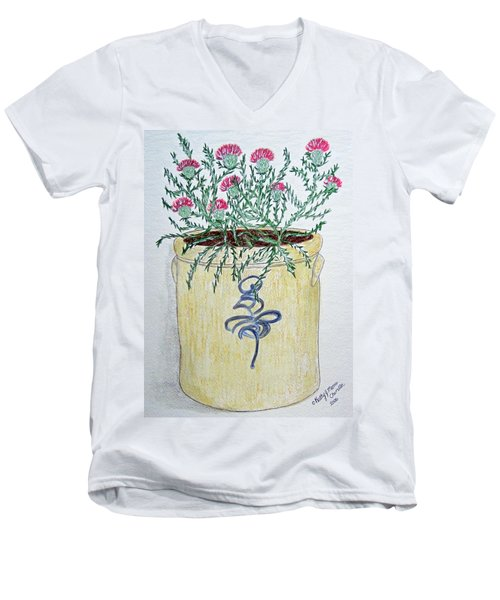 Men's V-Neck T-Shirt featuring the painting Vintage Bee Sting Crock And Thistles by Kathy Marrs Chandler