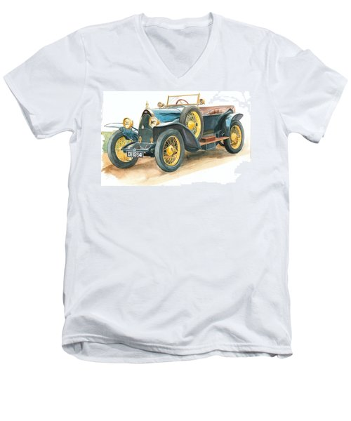Vintage Blue Bugatti Classic Car Men's V-Neck T-Shirt