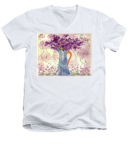 Men's V-Neck T-Shirt featuring the painting Vintage Blue Flower Bouquet by Cathie Richardson