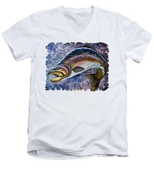Vintage Blue Trout Fresco  Men's V-Neck T-Shirt by Lena  Owens OLena Art