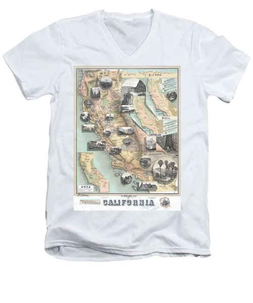 Vintage California Map Men's V-Neck T-Shirt
