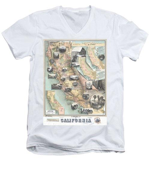 Vintage California Map Men's V-Neck T-Shirt