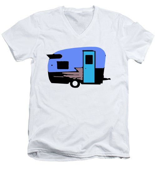 Men's V-Neck T-Shirt featuring the painting Vintage Camper Trailer Pop Art Blue by Edward Fielding
