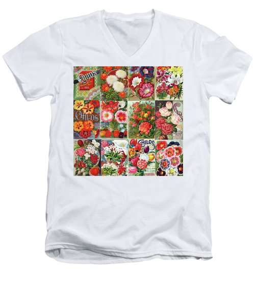 Vintage Childs Nursery Flower Seed Packets Mosaic  Men's V-Neck T-Shirt by Peggy Collins