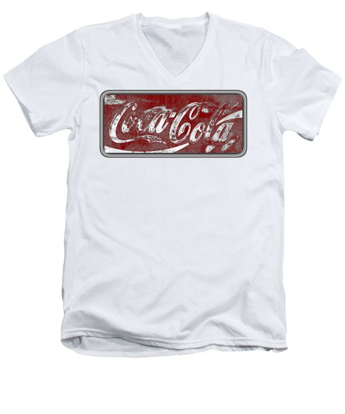 Vintage Coca Cola Red And White Sign With Transparent Background Men's V-Neck T-Shirt