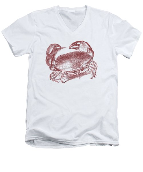 Men's V-Neck T-Shirt featuring the digital art Vintage Crab Tee by Edward Fielding
