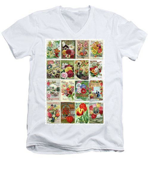 Vintage Flower Seed Packets 1 Men's V-Neck T-Shirt by Peggy Collins