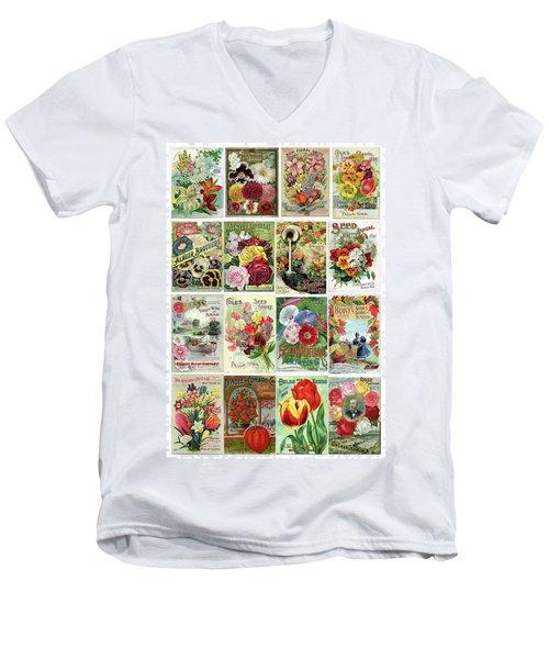 Vintage Flower Seed Packets 1 Men's V-Neck T-Shirt