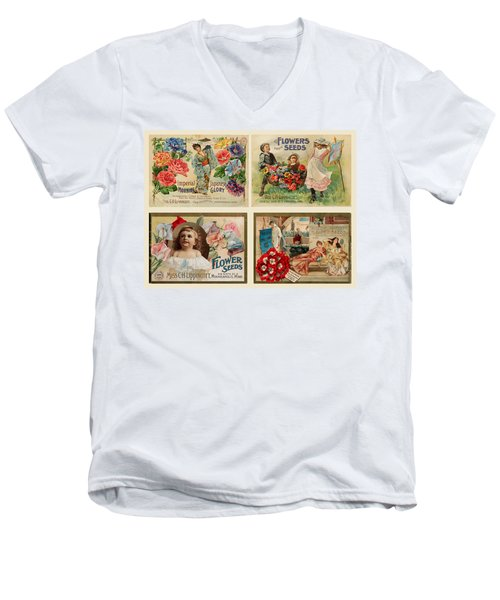 Vintage Flower Seed Packets Men's V-Neck T-Shirt by Peggy Collins
