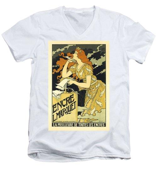 Vintage French Advertising Art Nouveau Encre L'marquet Men's V-Neck T-Shirt