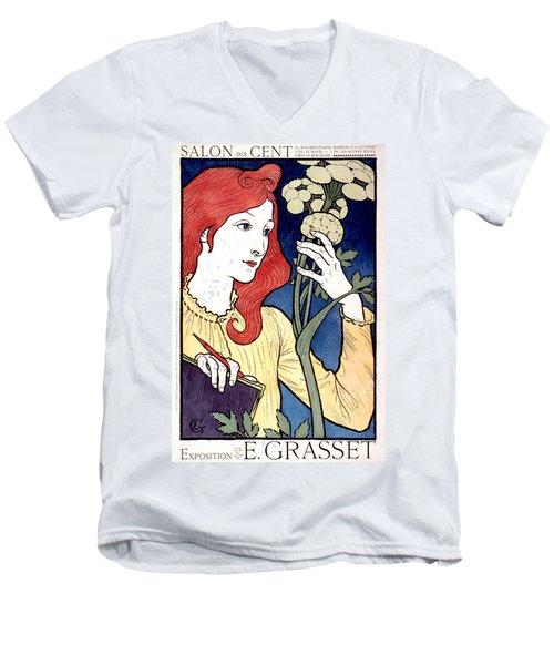 Vintage French Advertising Art Nouveau Salon Des Cent Men's V-Neck T-Shirt