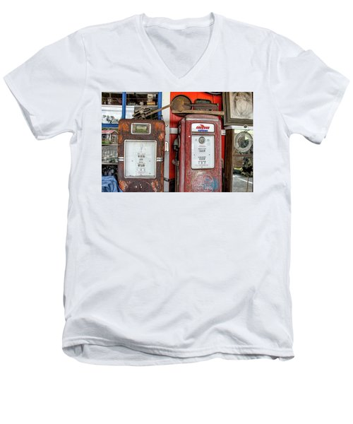 Vintage Gas Pumps Men's V-Neck T-Shirt