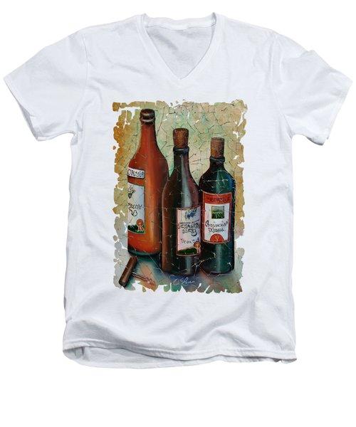 Vintage Georgian Wine Fresco Men's V-Neck T-Shirt by Lena  Owens OLena Art