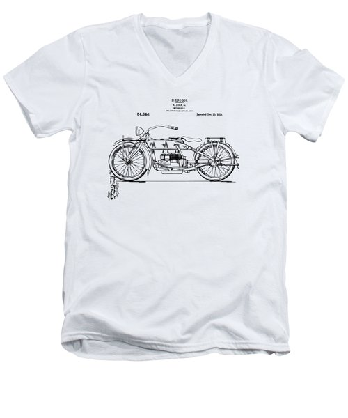 Vintage Harley-davidson Motorcycle 1919 Patent Artwork Men's V-Neck T-Shirt by Nikki Smith