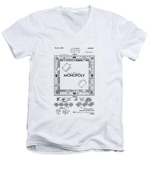 Vintage Monopoly Patent 1935 Men's V-Neck T-Shirt