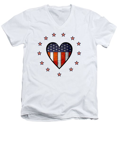 Vintage Patriotic Heart Men's V-Neck T-Shirt