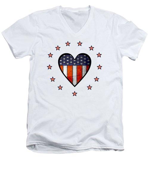 Vintage Patriotic Heart Men's V-Neck T-Shirt