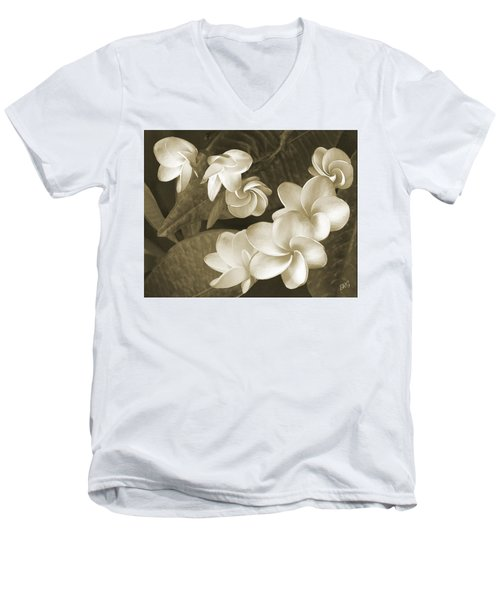 Men's V-Neck T-Shirt featuring the photograph Vintage Plumeria by Ben and Raisa Gertsberg