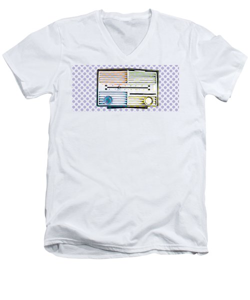 Men's V-Neck T-Shirt featuring the photograph Vintage Radio Purple Dots Mug by Edward Fielding
