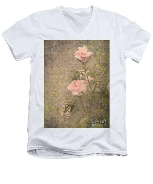 Vintage Rose Poster Men's V-Neck T-Shirt by Liz  Alderdice