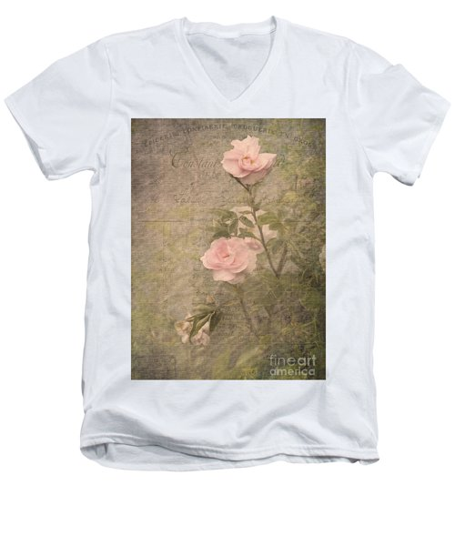 Vintage Rose Poster Men's V-Neck T-Shirt