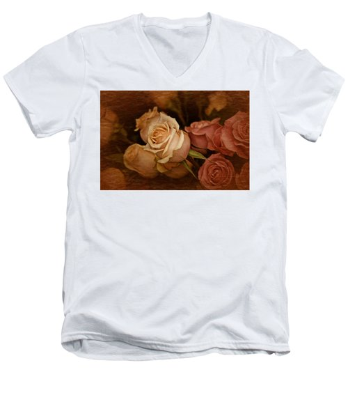 Men's V-Neck T-Shirt featuring the photograph Vintage Roses March 2017 by Richard Cummings