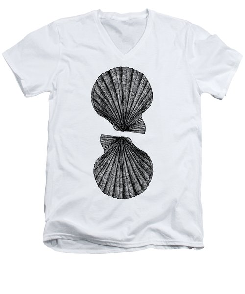 Men's V-Neck T-Shirt featuring the photograph Vintage Scallop Shells by Edward Fielding