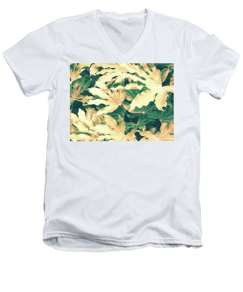 Men's V-Neck T-Shirt featuring the photograph Vintage Season Gold by Rebecca Harman
